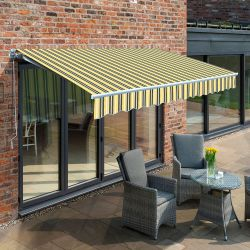 3.5m Budget Manual Awning, Yellow and Grey